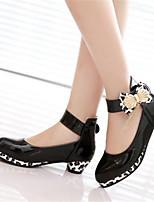 Damen-Stiefel-Lässig-PU-Blockabsatz-Blumen-Mädchen-Schuhe-Schwarz Rosa
