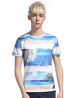 Men's Going out Casual/Daily Holiday Simple T-shirt,Print Round Neck Short Sleeve Cotton