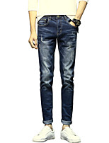 Men's Mid Rise Micro-elastic Jeans PantsSimple Slim Solid ACD-A150