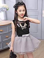 Girls' Dress Casual/Daily Beach Holiday Color Block SetsSilk Summer Sleeveless Clothing Set