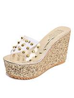 Золотой Серебряный-Для мужчин-Для офиса Повседневный-Полиуретан-На танкетке-Удобная обувь-Сандалии