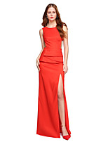 TS Couture Formal Evening Dress - Furcal Sheath / Column Jewel Floor-length Satin with Pleats