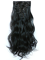 12pcs/Set 150g Natural Black Wavy Hair Extension Clip In Synthetic Hair Extensions