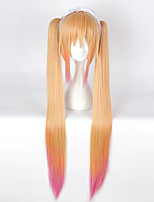 Cosplay Wigs Cosplay Cosplay Yellow Long Ponytails Anime Cosplay Wigs 100 CM Heat Resistant Fiber