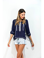 Sign new European trade wild round neck T-shirt shirt embroidered fringed resort Top