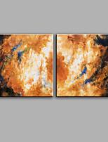 Handgemalte Abstrakt Quadratisch,Modern Zwei Panele Leinwand Hang-Ölgemälde For Haus Dekoration