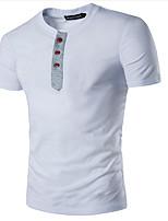 Tee-shirt Homme,Couleur Pleine Décontracté / Quotidien simple Eté Manches Courtes Col Arrondi Coton Fin