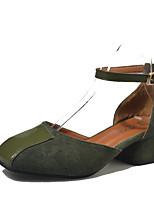 Mujer-Tacón Plano-Confort-Sandalias-Informal-PU-Negro Verde Caqui