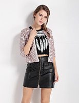 Women's Going out Sexy Spring Fall Leather Jacket,Solid Round Neck ¾ Sleeve Short Polyester