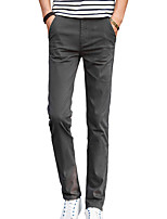 Men's Slim Chinos PantsCasual/Daily Simple Solid Mid Rise Button Cotton Polyester Micro-elastic All Seasons HY-986