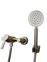 Traditional Art Deco/Retro Tub And Shower Widespread with  Ceramic Valve Single Handle Two Holes for  Stainless Steel , Bathtub Faucet