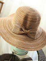 Для женщин Очаровательный На каждый день Соломенная шляпа Шляпа от солнца,Лето Соломка Однотонный