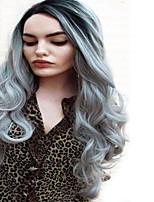 ombre cinza peruca barato perucas de cabelo natural, peruca sintética curly longo para as mulheres de 24 polegadas perucas sintéticas
