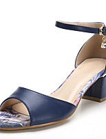 Sandals Spring Summer Fall Toe Ring PU Office & Career Dress Casual Chunky Heel Sparkling Glitter Hollow-out
