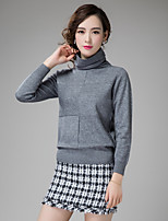Women's Casual/Daily Simple Regular Pullover,Solid Turtleneck Long Sleeve Acrylic Fall Medium Inelastic
