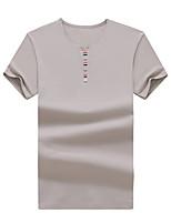 Masculino Camiseta Para Noite Casual Praia Simples Activo Primavera Verão,Sólido Algodão Decote Redondo Manga Curta