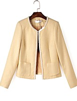 Women's Casual/Daily Simple Spring Leather Jacket,Solid Round Neck Long Sleeve Regular Cotton