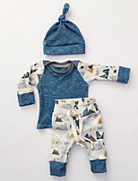 Unisex Casual/Daily Print Sets,Cotton Winter Fall Long Sleeve Clothing Set