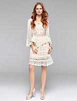 Guaina / colonna abito da sposa semplicemente sublime visiera a ginocchio in v-collo con pizzo drappeggiato