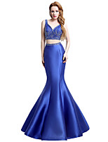 Formal Evening Dress Trumpet / Mermaid V-neck Floor-length Satin with Beading