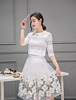 Women's Going out Simple Spring Summer Blouse Skirt Suits,Floral Round Neck ¾ Sleeve Others