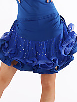Latin Dance Tutus & Skirts Women's Performance Tulle Milk Fiber Draped Sequins 1 Piece Natural Skirt