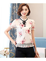 Women's Going out Cute Blouse,Floral Crew Neck Short Sleeve Polyester