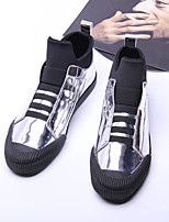 Men's Sneakers Spring Summer Comfort Microfibre Casual Chunky Heel Gold Black Silver