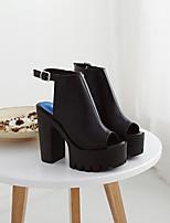 -Для женщин-Повседневный-Микроволокно-На толстом каблуке Блочная пятка-Удобная обувь-Обувь на каблуках