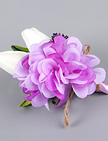 Wedding Flowers Free-form Lilies Peonies Boutonnieres Wedding Party/ Evening Purple Satin