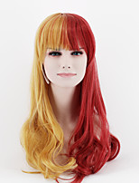Japan and South Korea fashion mixed long gold mixed red Liu Haibo wave high temperature wire wig