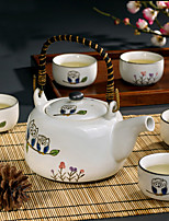 Cute Owl Hand-Painted High Temperature Porcelain Tea Set with Pot(650ml) and Five Cups (150ml each)