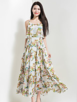 BORME Women's Going out Casual/Daily Holiday Vintage Boho Chiffon Swing DressFloral Round Neck Maxi Sleeveless Polyester Spring SummerHigh