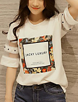 Women's Casual/Daily Simple Spring Summer T-shirt,Print Round Neck ½ Length Sleeve Polyester Medium