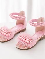 Белый Лиловый Розовый-Девочки-Для праздника Повседневный-Полиуретан-На плоской подошве-Удобная обувь-Сандалии