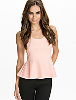 Women's Going out Beach Sports Sexy Cute Chinoiserie T-shirt,Solid Round Neck Sleeveless Cotton