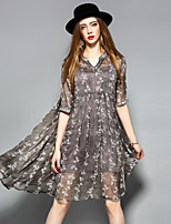 YHSPWomen's Going out Beach Holiday Sophisticated A Line Loose Swing DressFloral V Neck Knee-length  Length Sleeve Polyester Spring Summer