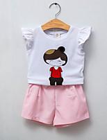 Girls' Casual/Daily Print Sets,Cotton Summer Sleeveless Clothing Set