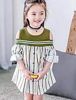 Menina de Vestido Listrado Verão Algodão Manga Curta
