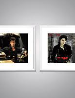 Affiche encadrée Célèbre Portraits Abstraits Moderne Réalisme,Deux Panneaux Toile Carré Imprimer Art Décoration murale For Décoration