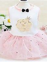 Chien Robe Vêtements pour Chien Printemps/Automne Lace Mignon Gris Rose