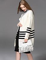 Women's Casual/Daily Regular Cardigan,Solid Striped Round Neck Long Sleeve Cotton Acrylic Spring Fall Medium Micro-elastic