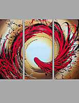 Hand-painted Oil Paintings Abstract Phoenix Red Golden Flowing Lines Wall Art Stretched Frame Ready To Hang