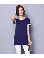 Women's Casual/Daily Vintage T-shirt,Color Block Round Neck Short Sleeve Cotton