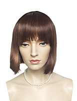 Golden Brown Wig Bob Straight With Neat Bangs Short Hairstyle For Women Party