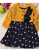 Girl's Casual/Daily Polka Dot Dress,Cotton Long Sleeve