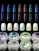 8bottles/set Nagel-Kunst-Dekoration Strassperlen Make-up kosmetische Nagelkunst Design