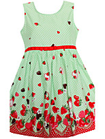 Girls Dress Dot Strawberry Print Belt Dresses Party Birthday Princess Children Clothes