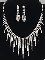 Свадебные комплекты ювелирных изделий Стразы Сплав В форме линии Серебряный 1 ожерелье 1 пара сережек ДляСвадьба Для вечеринок Особые