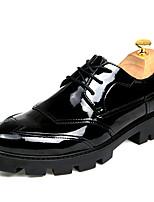 גברים-נעלי אוקספורד-עור-נוחות-שחור-חתונה יומיומי מסיבה וערב-עקב שטוח